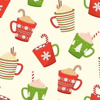 Christmas seamless pattern with cups hot cocoa, cartoon mugs with holiday drinks. illustration