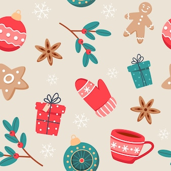 かわいいカップ、スパイス、ジンジャークッキー、新年の装飾が施されたクリスマスのシームレスなパターン