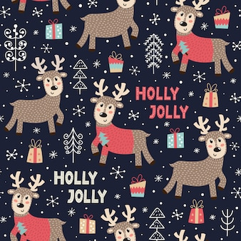 Christmas seamless pattern with a cute deer.