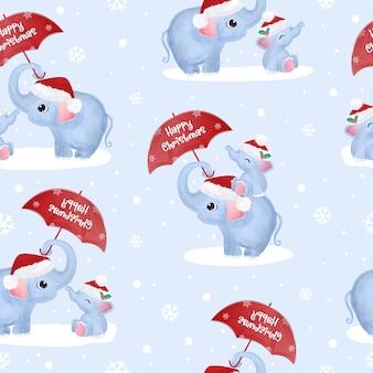 Christmas seamless pattern with cute elephants