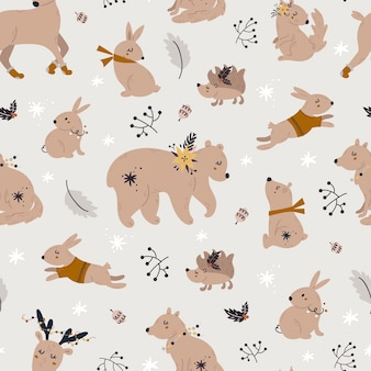 Christmas seamless pattern with cute forest animals.