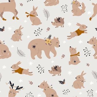 귀여운 숲 동물들과 함께 크리스마스 완벽 한 패턴입니다.