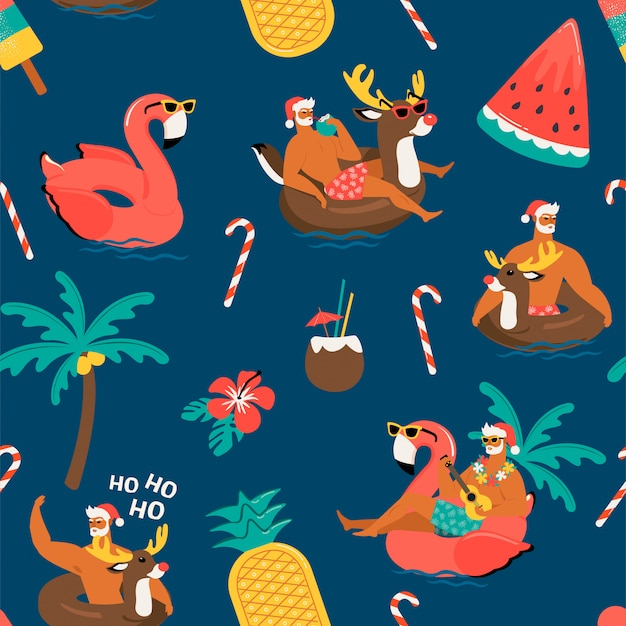 Christmas seamless pattern with cute funny santa claus with reindeer and flamingo inflatable ring..