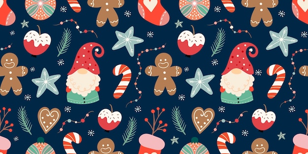 Christmas seamless pattern with cute gnomes