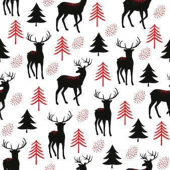 かわいい金色の鹿とモミの木とクリスマスのシームレスなパターン。テキスタイルまたは紙のベクタープリント。明けましておめでとう