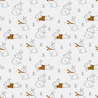 Christmas seamless pattern with cute hares.