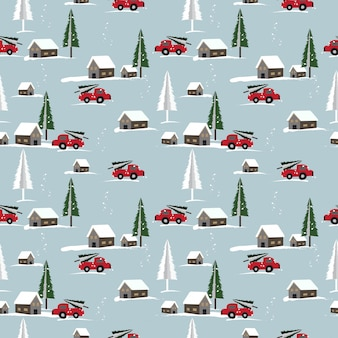Christmas seamless pattern with cute home town