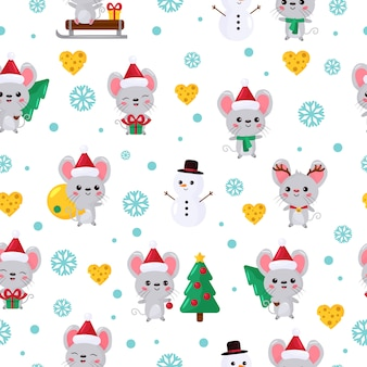 Christmas seamless pattern with cute kawaii mouse.