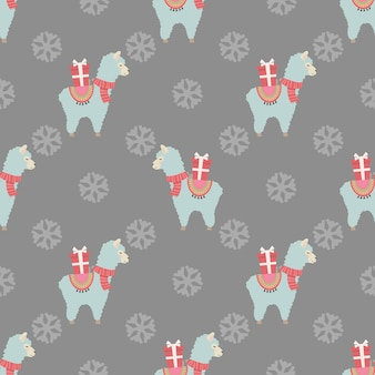 Christmas seamless pattern with cute llamas and gifts christmas and new year concept