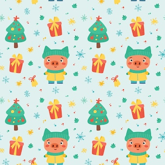 Christmas seamless pattern with cute piglet and winter holidays elements. new year