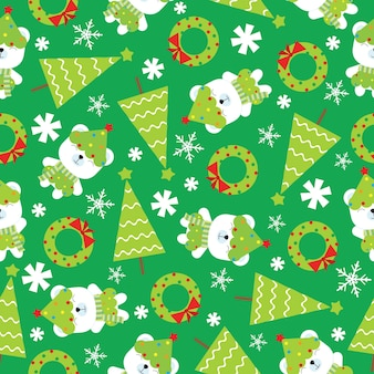 Christmas seamless pattern with cute polar bear and xmas tree on green background