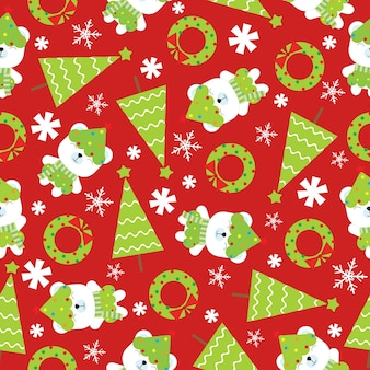 Christmas seamless pattern with cute polar bear and xmas tree on red background
