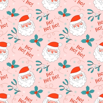 Christmas seamless pattern with cute santa in doodle style.