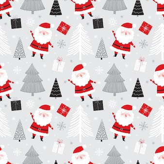 Christmas seamless pattern with cute santa gifts and christmas trees. Premium Vector