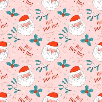 Рождественский фон с милым санта в стиле каракули.