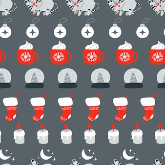 Christmas seamless pattern with cute sleeping tiger and other christmas element vector illustration