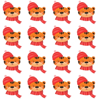 Christmas seamless pattern with cute tiger christmas and new year concept