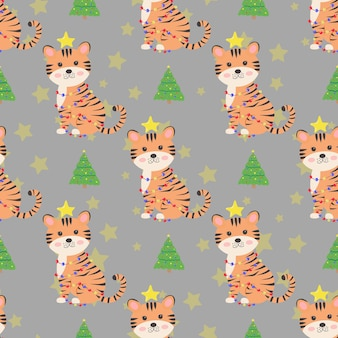 Christmas seamless pattern with cute tiger and christmas tree new year concept