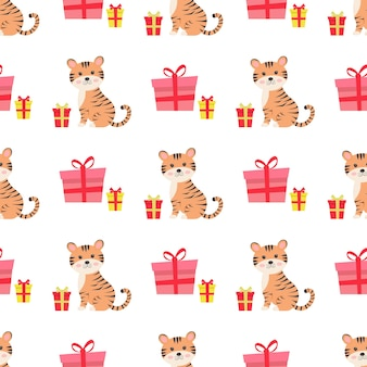 Christmas seamless pattern with cute tiger and gifts
