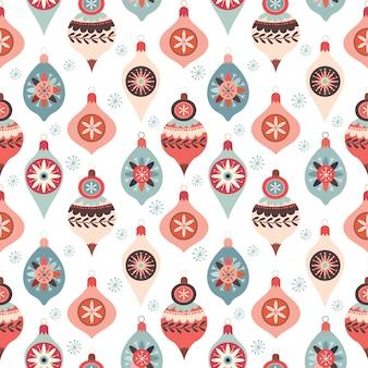 Christmas seamless pattern with decorative christmas balls