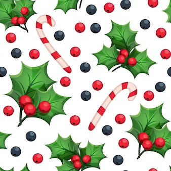 Christmas seamless pattern with decorative elements: green leaves, red and blue berries, candy cane