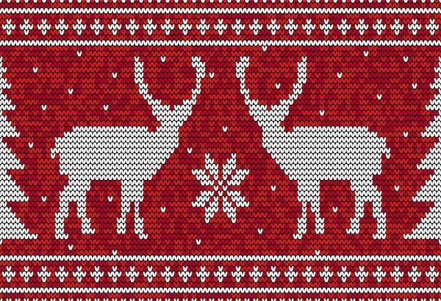 鹿と松の木とクリスマスのシームレスなパターン