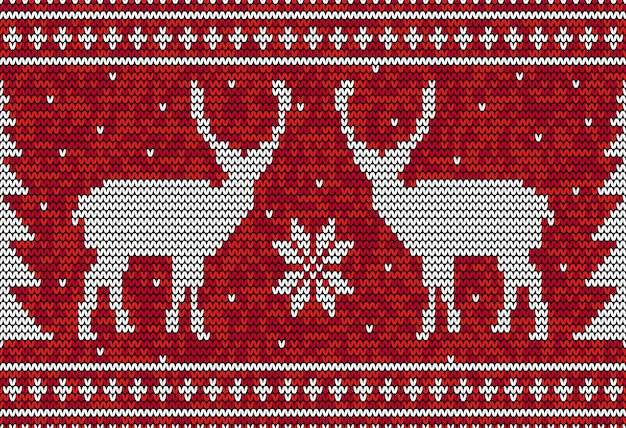 Christmas seamless pattern with deer and pine tree