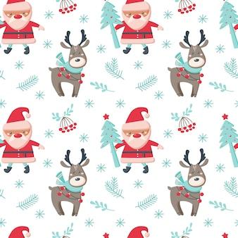 鹿、サンタクロース、木、枝、白い背景で隔離の雪片とクリスマスのシームレスなパターン。ベクトルフラットイラスト。背景、ラッピング、壁紙、テキスタイル、パッケージングのデザイン