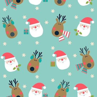 Christmas seamless pattern with deer and santa.