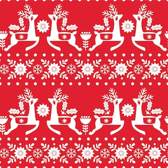 Christmas seamless pattern with deer, snowflakes and flowers