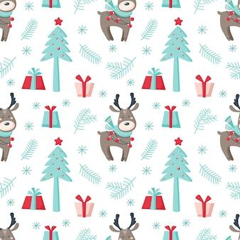 鹿、木、白い背景で隔離の贈り物とクリスマスのシームレスなパターン。ベクトルフラットイラスト。背景、ラッピング、壁紙、テキスタイル、パッケージングのデザイン