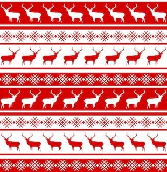 鹿とクリスマスのシームレスなパターン。
