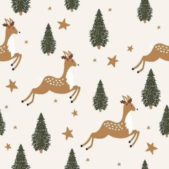 鹿とクリスマスのシームレスなパターン