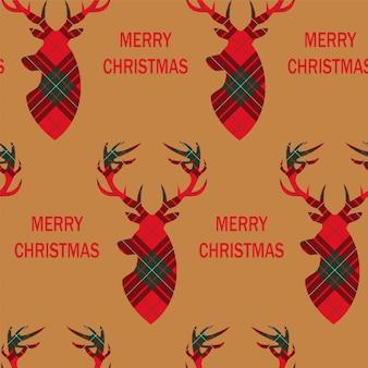Christmas seamless pattern with deers head.