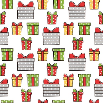 Christmas seamless pattern with different gift boxes