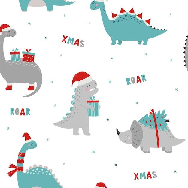 Christmas seamless pattern with dinosaurs roar xmas dino xmas funny character in cartoon style