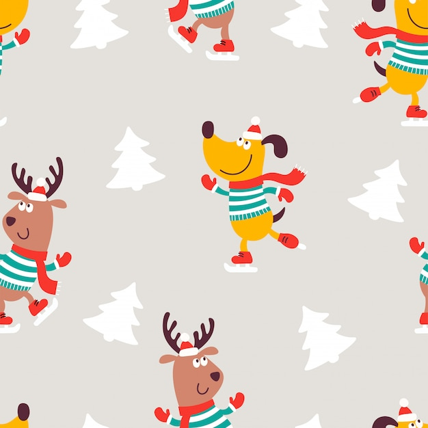 Christmas seamless pattern with dog and deer
