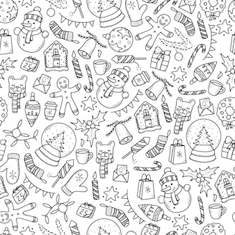 Christmas seamless pattern with doodles