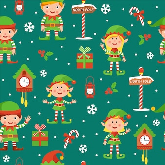 Christmas seamless pattern with elves boys and girls, boxes, clocks, berries, sweets, snowflakes and north pole signs.