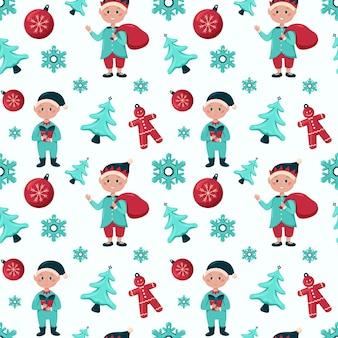 Рождественский фон с носками из конфет эльфов, елочные игрушки и пряничный человечек