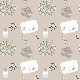 봉투 오멜라 촛불 쿠키와 크리스마스 원활한 패턴 벡터 handdrawn 배경