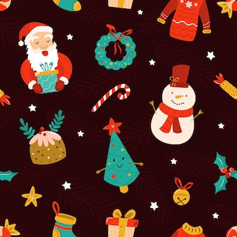 Christmas seamless pattern with festive decorative elements, santa claus, snowman and winter symbols. holiday background for your designs.