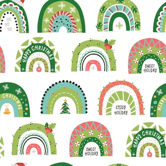 Christmas seamless pattern with festive rainbows.  illustration for christmas invitations, t-shirts and scrapbooking