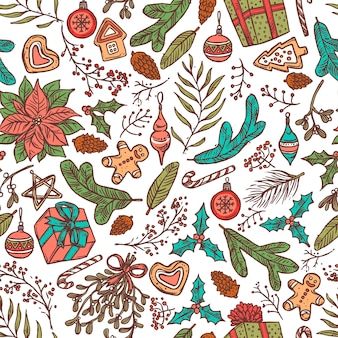 Christmas seamless pattern with festive symbols and icons. linear doodle sketch illustration and backgorund