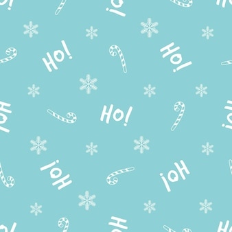 お祝いのテキストと装飾的な要素を持つクリスマスのシームレスなパターン。包装紙、ギフトボックス、布地の新年のデザイン。