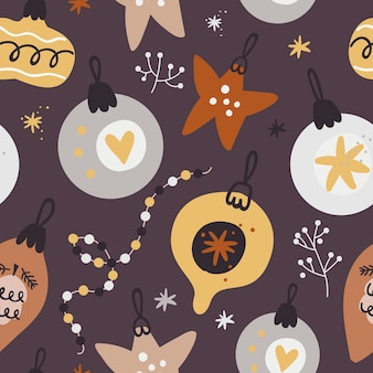Christmas seamless pattern with festive toys.