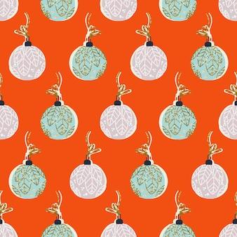モミのボールとクリスマスのシームレスなパターン