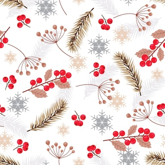 Christmas seamless pattern with fir branches background