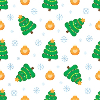 Christmas seamless pattern with fir tree and balls.
