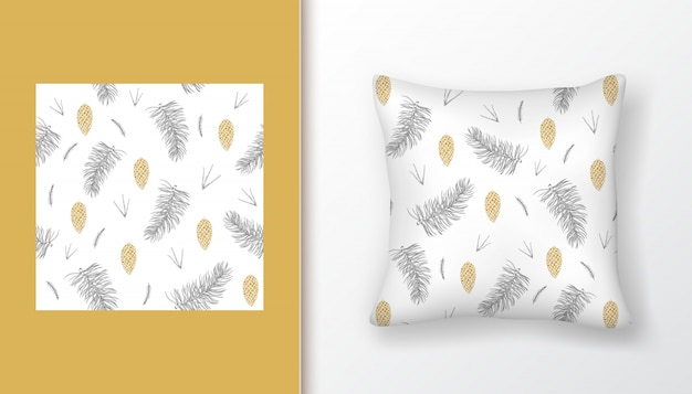 Christmas seamless pattern with fir tree branches and golden pine cones on pillow mock up.